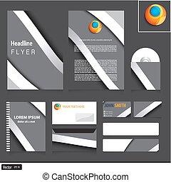 Graue Corporate Identity Vorlage mit Metallwellen für Ihr Unternehmen. Vector modernes Design.