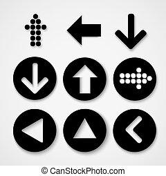 graue , einfache , set., zeichen, hintergrund., form, pfeil, kreis, ikone