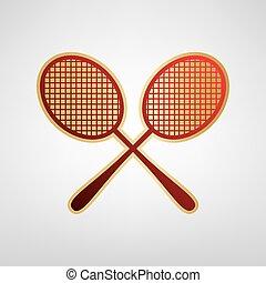 graue , goldlicht, zeichen., tennis, zwei, hintergrund., vector., schläger, aufkleber, rotes , ikone
