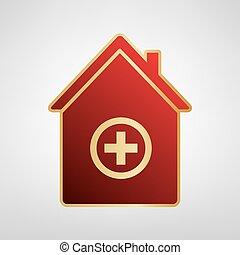 graue , illustration., goldlicht, klinikum, zeichen, hintergrund., vector., aufkleber, rotes , ikone