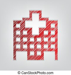 graue , kontur, klinikum, licht, zeichen., rotes , hintergrund., künstlerisch, schnur, illustration., steigung, ikone, kritzeln
