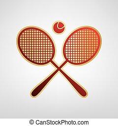 graue , kugel, goldlicht, zeichen., tennis, zwei, hintergrund., vector., schläger, aufkleber, rotes , ikone