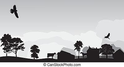 Graue Landschaft mit Bäumen und Dorf