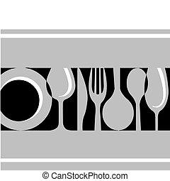 Graue Tafel: Gabel, Messer, Teller und Glas