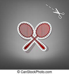 graue , vector., applique, zeichen., tennis, racquets, papier, scissors., hintergrund, schatten, rotes , ikone