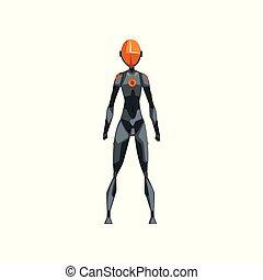 graue , weibliche , raum, cyborg, roboter, abbildung, klage, kostüm, vektor, hintergrund, front, weißes, ansicht, superhero
