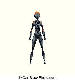 graue , weibliche , raum, cyborg, roboter, abbildung, zurück, klage, kostüm, vektor, hintergrund, weißes, ansicht, superhero