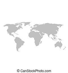 Graue Weltkarte auf weißem Hintergrund