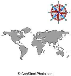 Graue Weltkarte mit Windrose