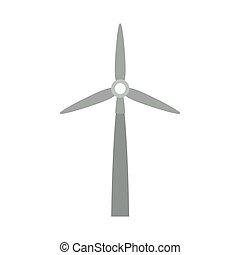 Grauer Windenergiegenerator.