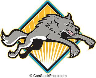 Grauer Wolfshund springt und greift an