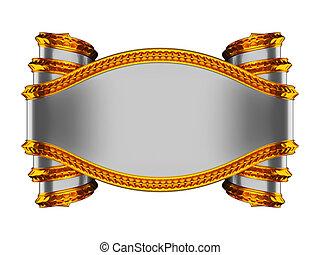 Graues, leeres Kräutersymbol mit goldenem Äußerem
