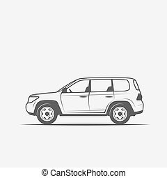 Graustufenbild des Autos.