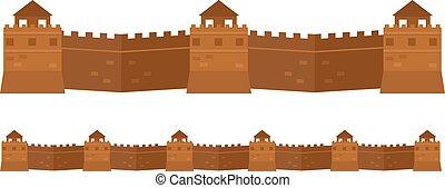 Great chinese Wand alte Architektur berühmten Attribute.