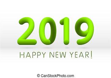 Green 2019 Symbol, glückliches neues Jahr isoliert auf weißem Hintergrund, Vektorgrafik.