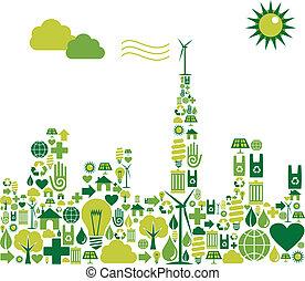 Green City Silhouette mit Umwelt-Ikonen