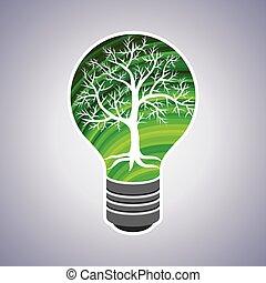 Green Glühbirne Eco Konzept.