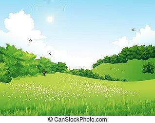 Green Landscape mit Bäumen, Wolken, Blumen