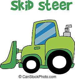 Green Skid Steer Cartoon Vektor.