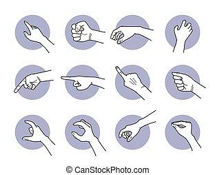 greifen, zeigen, hand, gestures.