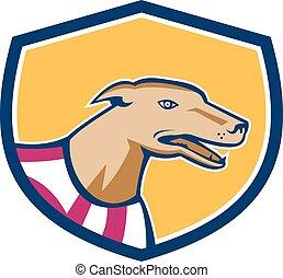 Greyhound Hundekopf seitlicher Schildretro.