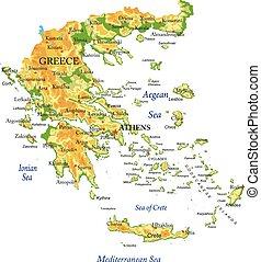 griechenland, landkarte, physisch