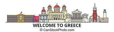 Griechenland skizziert Skyline, griechischen flachen dünnen Linien Icons, Wahrzeichen, Illustrationen. Griechenland Stadtbild, griechische Reisestadt-Vektorbanner. Urban Silhouette