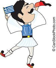 Griechisch-Evazone tanzt mit Flagge