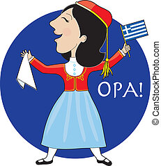 Griechische Dame tanzt