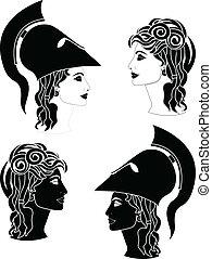 Griechische Frauenprofile.