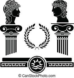 Griechische Säulen und menschliche Köpfe