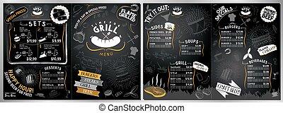 grillfest, größe, a3, karte, menükarte, a4, grill, -