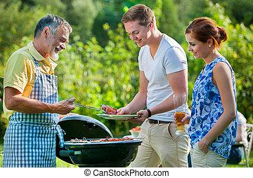 grillfest, haben, familie partei