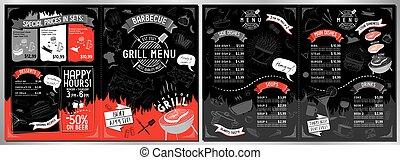 grillfest, -, schablone, karte, a3, a4, restaurantmenü