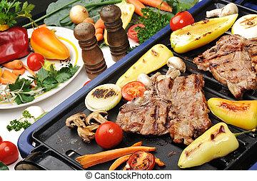 Grillfleisch, Fleisch und Gemüse und Pilze