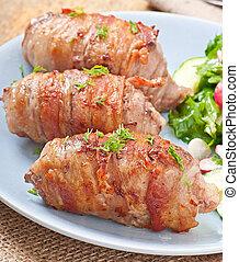grillte fleisch, brötchen