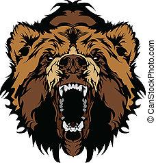 Grizzly Bär Maskottchenkopf-Vektorgra.