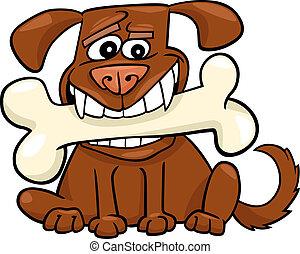 groß, karikatur, knochen, hund