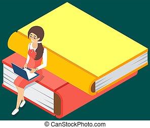 groß, liebe, online, lesen, concept., laptop., buecher, junger, stapel, m�dchen, sitzen, buchausleihe