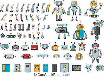 groß, roboter, zubehörteil, farbe, satz, verschieden