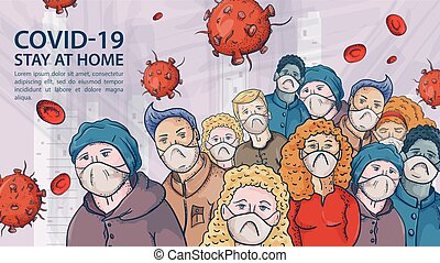 groß, sehr, kontur, abbildung, masken, coronavirus, warnung, covind, inschrift, crowd, moleküle, 2019-ncov, leute, virus, rotes , medizin