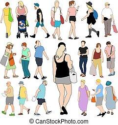 groß, sommer, satz, shoppen, leute