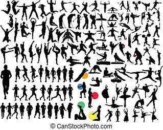groß, verschieden, sport, sammlung