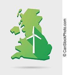 Großbritannien Karte Icon mit einem Windenergiegenerator.