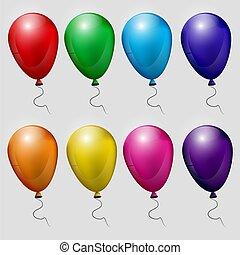 Große Ballons, isoliert auf weißem Hintergrund, Vektorgrafik. Eps 10.