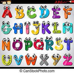 Große Buchstaben, Zeichentrick-Illustration