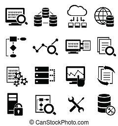 Große Daten, Cloud Computing und Technologie Icons.