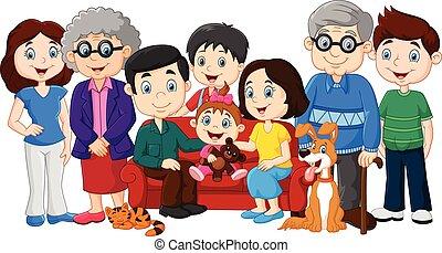 Große Familie mit Großeltern.