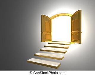 Große goldene Tür öffnete sich auf weiß