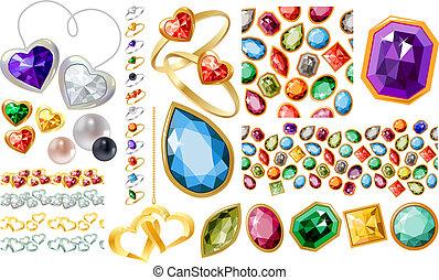Große Juwelen mit Edelsteinen und Ringen
